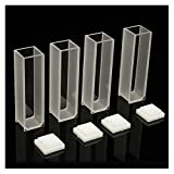 Adealink 4Pcs Visible Cuvette Cell 3.5ml 10mm Quartz/Glass Spectrometer Micro Optical Spectrophotometer