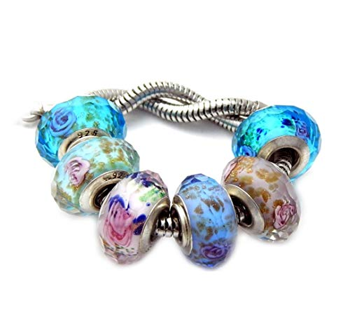 J&M Set of 6 Assorted Faceted Murano Beads for Bracelets