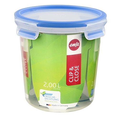 Emsa Clip and Close Storage Container, Round, 67.5 Ounces