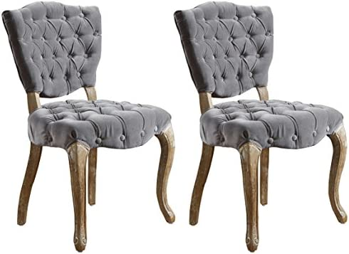Amazon Com Best Selling Lane Tufted Fabric Dining Chair Grey Set Of 2 Furniture Decor