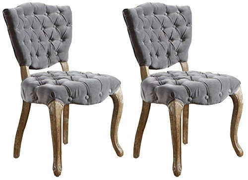 Best Selling Lane Tufted Fabric Dining Chair, Grey, Set of 2