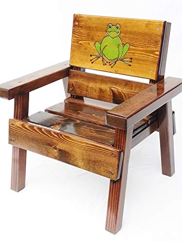 (Kids Outdoor Wooden Chair, Heirloom Gift, Engraved and Painted Frog)
