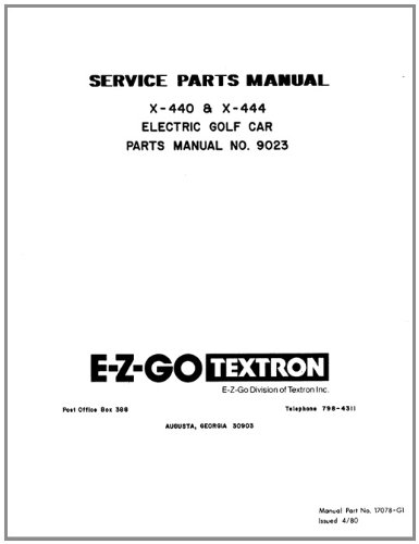 Amazon.com : EZGO 17078G1 1980 - 1982 Service Parts Manual For EZGO ...