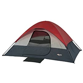 Mountain Trails South Bend Tent - 4 Person 126 Compact sport dome tent that sleeps up to 4 people Shock-corded fiberglass frame with pin-and-ring system for easy setup Large mesh roof vents and windows provide excellent ventilation