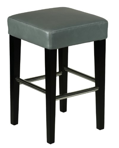 Cortesi Home Viking Counter Stool in Genuine Leather with Black Legs, Steel - Leather Pottery Barn