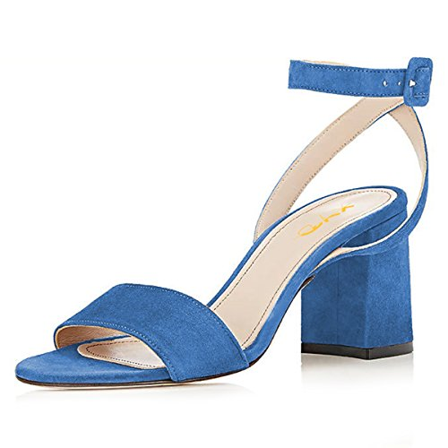 (XYD Women Open Toe Strappy Sandals Mid Block Heel Slingback Ankle Strap Suede Dress Pump Shoes Size 10 Royal Blue)