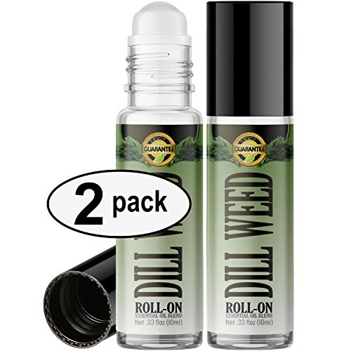 Dill Weed Roll On Essential Oil Rollerball (2 Pack - Pure Dill Weed Oil) Pre-diluted with Glass Roller Ball for Aromatherapy, Kids, Children, Adults Topical Skin Application - 10ml Bottle