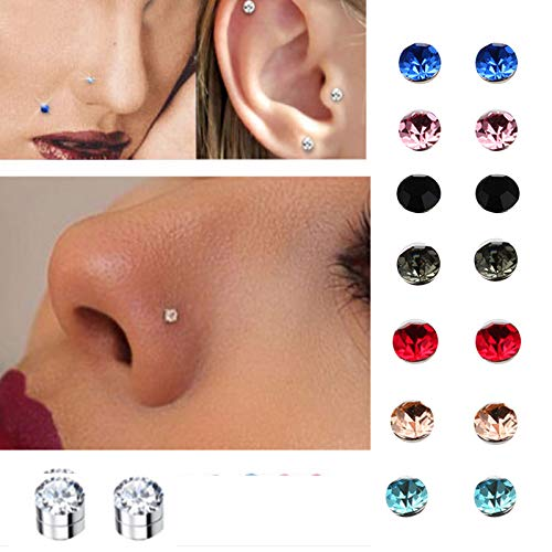 Kangkang 5mm Crystal Magnetic Stud Earring Magnet Nose Ear Lip Stud Non Piercing Tragus Nose Stud 8 Pairs/ Pack (8 Pairs -