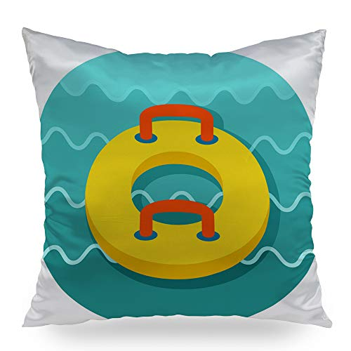 Moslion Towable Water Tube Inflatble Boat Vacation Throw Pillows Decortative Pillow Case Satin Square Pillow Cover Cushion Cover Home Decor for Sofa Bed 16x16 inch (Man Towable)