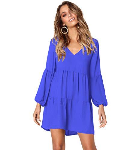 HPLY Women Long Sleeve Ruffle Loose Swing Dresses Casual V-Neck Shifr Dress Blue/XL by HPLY
