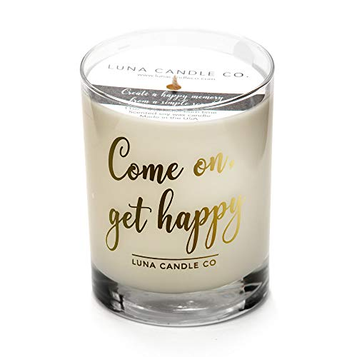 Warm, Vanilla Scented Jar Candle, 11oz. Glass, Natural Soy Wax, Long Burning Up To 110 Hours of Burn Time, Aromatherapy, Handcrafted in the USA- Come On, Get Happy, Luna Candle Co.