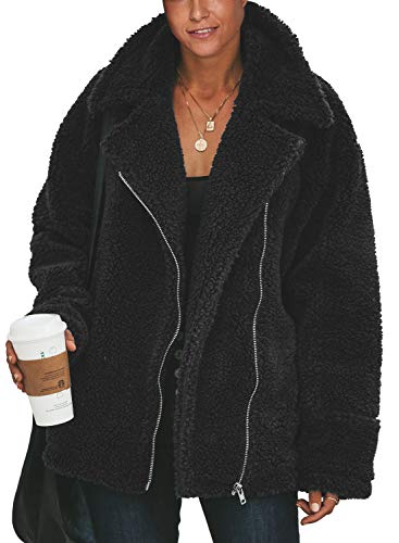 Acelitt Womens Casual Loose Winter Thick Warm Fuzzy Fluffy Fleece Zip up Open Front Long Sleeve Coat Outerwear Cardigans Jackets with Pockets Solid Black Medium