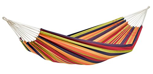 Byer of Maine Lambada Hammock and Ceara Stand Set by, Handwoven, Polyester/Cotton Blend, Tropical, Single, Adjustable Length, Powder Coated Steel, 126
