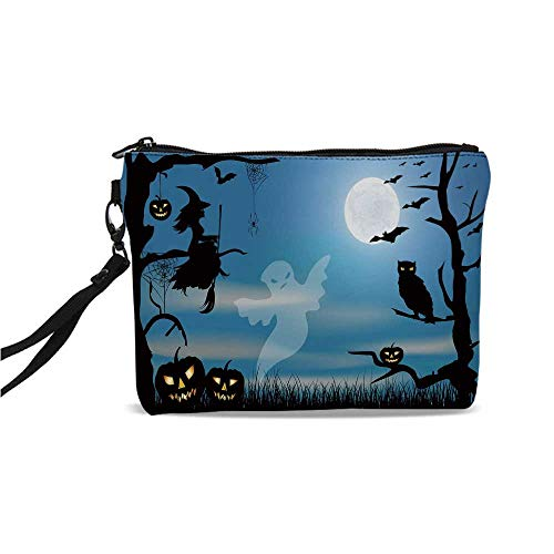 (Halloween Simple Cosmetic Bag,Ghost Witch Owl Spider Web Bats Trees Fantastic Grange Forest at Night Decorative for Women,9