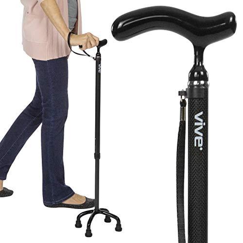 Vive Quad Cane - Carbon Fiber Lightweight Walking Stick for Men & Women - Adjustable Ergonomic Grip Handle - Nonslip Four Prong Rubber Tips for Right & Left Stability Support - Mobility Travel Aid