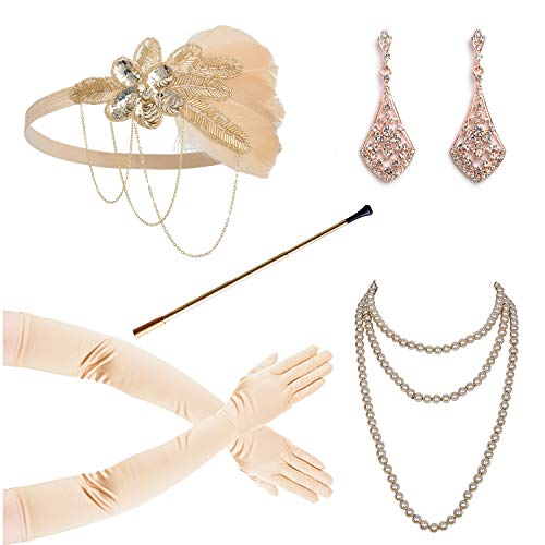 1920s Accessories for Women Headpiece Earrings Cigarette Holder Necklace Gloves Flapper Costume Set