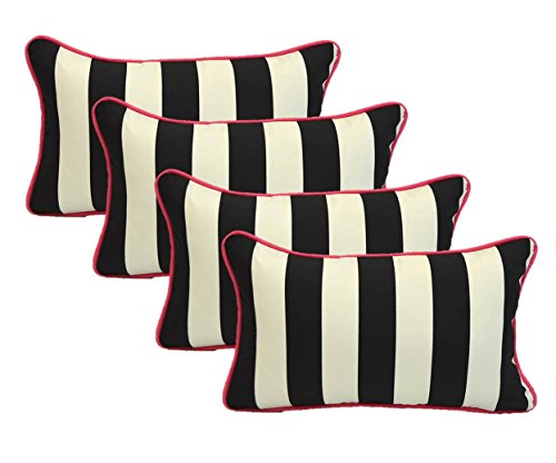Set of 4 Indoor / Outdoor Decorative Lumbar / Rectangle Pillows - Black and White Stripe with Hot Pink Piping / Cording - Zipper Cover & Insert by Resort Spa Home Decor