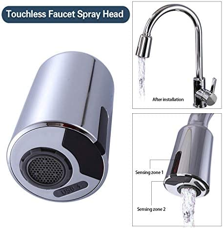 Touchless Faucet Spray Head for Kitchen faucet Induction water-saving nozzle with three interfaces of M20, M22 and M24 USB-charged chrome-colored sensor nozzle with filter