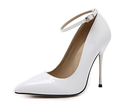 Trabajo Tobillo correas Bombas stiletto 11cm Tacón Simple Verano Señoras Señaló los zapatos de dedo del pie UE Tamaño 35-40 White