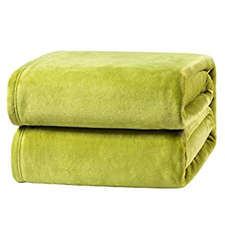 """Bedsure Flannel Fleece Blanket King Size (108""""x90""""), Green - Lightweight Blanket for Sofa, Couch, Bed, Camping, Travel - Super Soft Cozy Microfiber Blanket"""