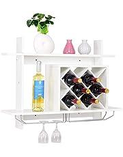 Giantex Wall Mounted Wine Rack Organizer W/Metal Glass Holder & Multifunctional Storage Shelf Modern Diamond-Shaped Wood Wine Server for 10 Bottles Wine Storage Display Rack
