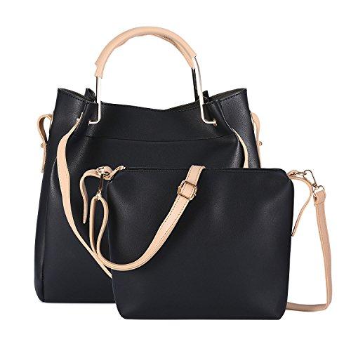 Genold Women Leather Top Handle Handbag, 2 in 1 Tote Purse Set with Small Detachable Ladies Casual Crossbody Shoulder Bag - Handbag 1 Black Leather