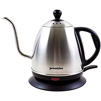 Electric Gooseneck Kettle for Pour Over Coffee & Tea, Stainless 18/10 Steel Drip Teapot (1 Liter) by Procizion