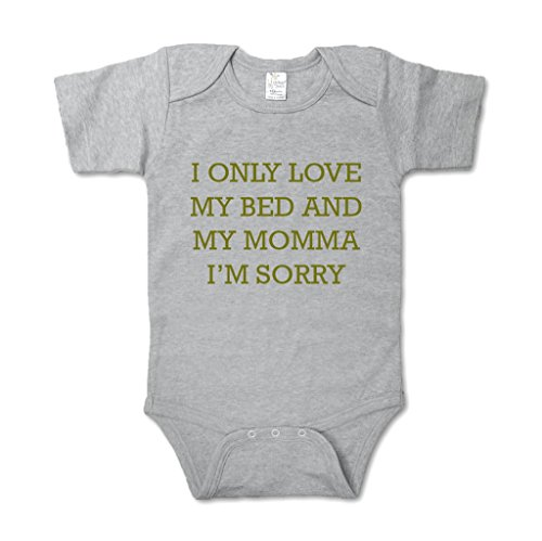 Baby One Piece | Baby Onesie Suit | OVO Inspired I Only Love My Bed and My Mamma, I'm Sorry (12-24 Months, Grey)