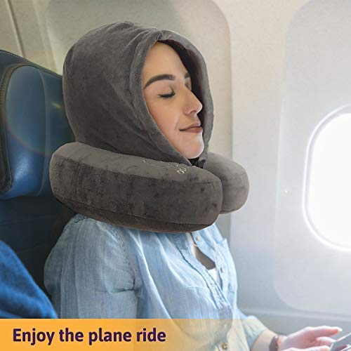 ROVAZO Hooded Neck Pillow and Silicone Ear Plugs -Premium Sleep Travel Kit - Ultra Soft Memory Foam Airplane Cushion with Adjustable Drawstring Hood - Bonus Carrying Bag