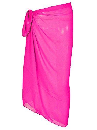 Urban Virgin Women's Sheer Hot Pink Plus Size Sarong Pareo Coverup Pareo Swimwear Chiffon Swimsuit Wrap Rosered 150100