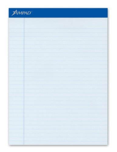 Ampad 20-670 Evidence Blue Legal Ruled Pads, 8-1/2 x 11-3/4, 50 Sheets/pad, Dozen by Ampad