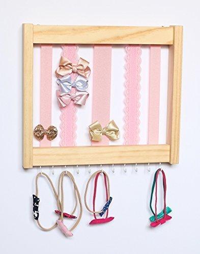 White Pine wood Hair clip Bow Organizer & Headband Holder/Wood Ribbons Hooks/Large Organizer Handmade/High Quality/Nursery Girls Room Decor / (pink lace ribbons Med)