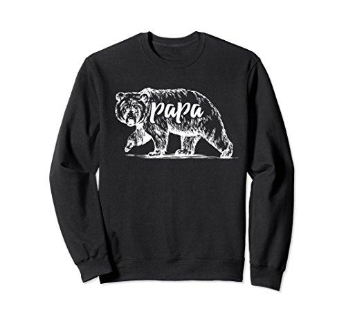 Unisex Men's Bear Papa Dad Long Sleeve Sweatshirt Camping T-Shirt 2XL (Black Bear T-shirt Sweatshirt)