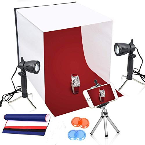 (Emart 16 x 16 Inch Lighting Photography Studio Box Kit Tabletop Photo Light Shooting Tent, Portable Table Top Tripod Stand Holder for Phone)