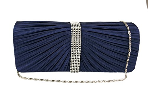 Bridal Blue AITING Evening Purse Womens Clutch Prom Bag Pleated Satin 6 Navy Diamante Handbag FqF7xw0r