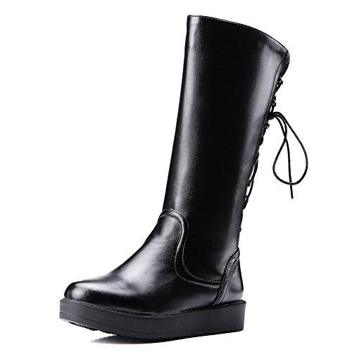 AgooLar Damen Gemischte Farbe Niedriger Absatz Reißverschluss Rund Zehe Stiefel, Schwarz, 39
