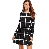 SheIn Women's Grid Check Print Long Sleeve Swing Dress