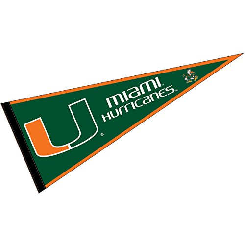 College Flags and Banners Co. Miami Hurricanes Pennant Full Size Felt ()
