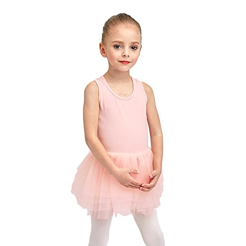 STELLE Toddler/Girl's Organic Cotton Tank Top Tutu Dress Leotard For Dance, Gymnastics and Ballet(Pink, 90cm)