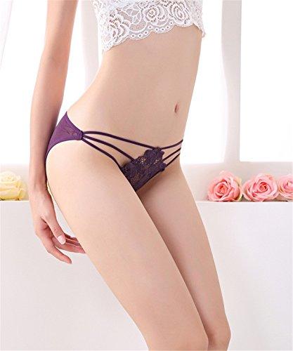 YALL-La Sra ropa interior calzoncillos cadera cintura baja pagan con huecos Purple
