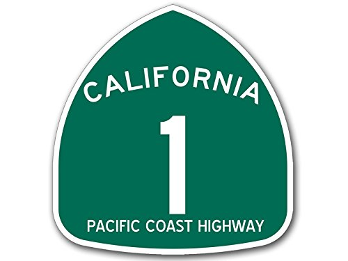 American Vinyl GREEN California 1 PCH Pacific Coast Highway Sign Shaped Sticker (road rv ca travel) BUYBOX IS LOW QUALITY FAKE Of Our Original Design