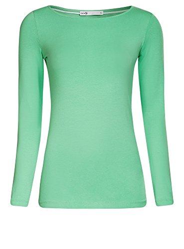 oodji Collection Mujer Camiseta de Manga Larga Verde (6500N)