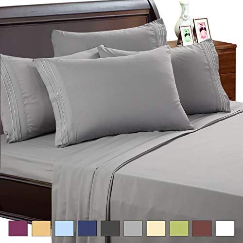EASELAND 6-Pieces 1800 Thread Count Microfiber Bed published Set-Wrinkle & Fade Resistant,Deep Pocket,Hypoallergenic Bedding Set,King,Grey