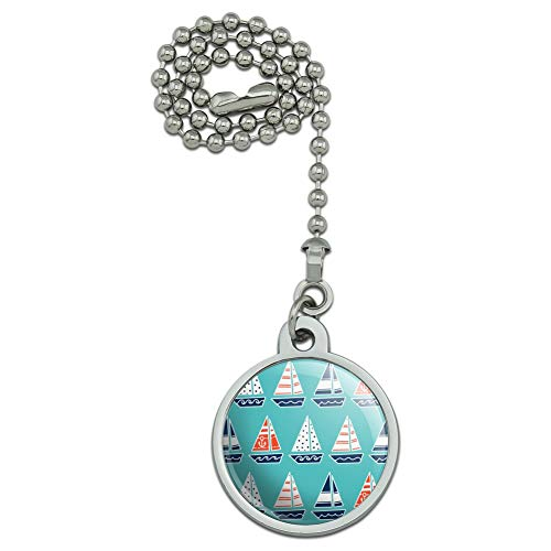 GRAPHICS & MORE Cute Sailboats Pattern Ceiling Fan and Light Pull ()