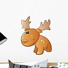 Wallmonkeys WM140707 Cute Baby Brown Cartoon Moose Peel and Stick Wall Decals (18 in H x 15 in W)