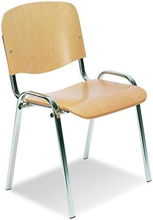 4er SET Mehrzweckstuhl ISO Wood Chrom Buche Besucherst/ühle