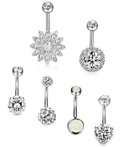 Thunaraz 6Pcs 14G Belly Button Rings Stainless Steel Navel Rings CZ Body Jewelry Piercing White