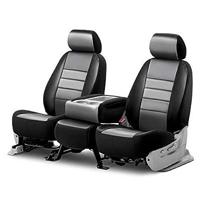 Fia SL68-31 GRAY Custom Fit Front Seat Cover Split Seat 40/20/40 - Leatherette (Black w/Gray Center Panel): Automotive