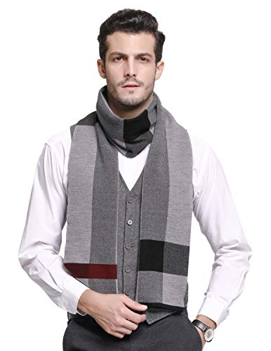 (RIONA Men's 100% Australian Merino Wool Scarf Knitted Soft Warm Neckwear Striped Long Scarves with Gift Box (9138_Black))