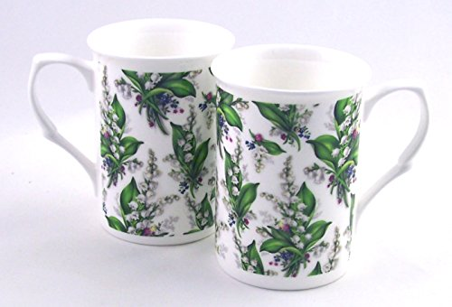 Pair (2) Fine English Bone China Mugs - Lily Chintz - Adderley Fine China - England